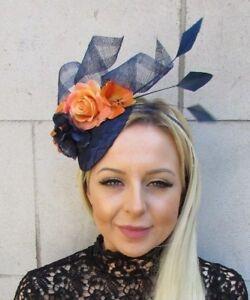 Navy Blue Orange Rose Flower Feather Pillbox Hat Fascinator Races ... b48ffb0838b