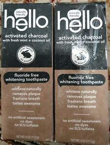2pk Hello Oral Care Activated Charcoal Teeth Whitening Fluoride
