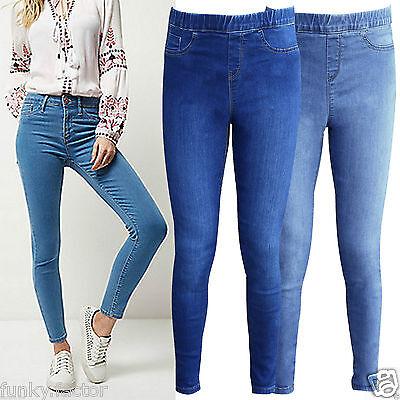 Ladies Womens Girls Slim Fit Skinny Stretch Denim Jeans Leggings Jeggings Uk8-14 Verkaufsrabatt 50-70%