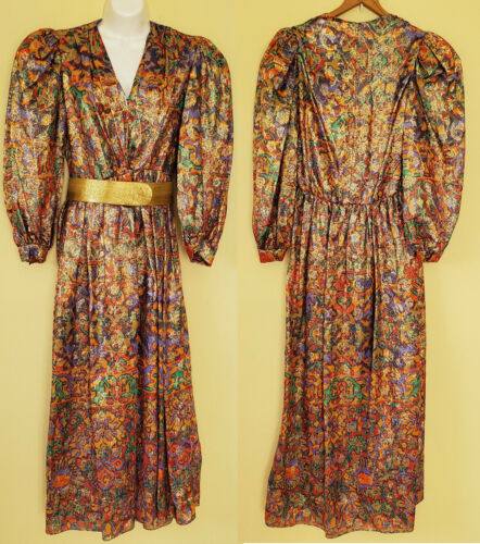 vintage Diane Dickinson Metallic Gold Dress Gown 8
