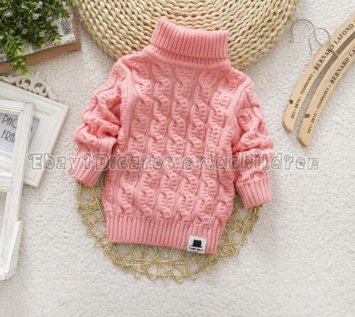 Unisex Children Sweater Tops Boys Girls Pollover Knitting Turtleneck Sweater