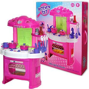 Kids Toy Kitchen Childrens Play Set Pretend Cooking Playset Pots