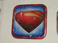 SUPERMAN MAN OF STEEL 8 Large Lunch or Dinner Plates Birthday Party Supplies