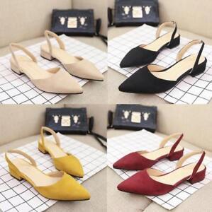 Women-Lady-Mules-Sandals-Pumps-Flats-Pointed-Toe-Shoes-Work-OL-Flat-Block-Heels