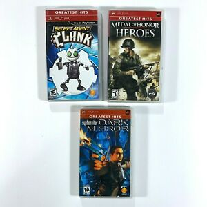 Secret-Agent-Clank-Medal-Of-Honor-Heroes-Syphon-Filter-Dark-Mirror-PSP-Lot-Of-3