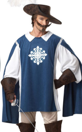 Musketeer Costume Adult 6 Pc Blue /& Wht Tunic//Shirt Gauntlets Boot Tops /& Hat