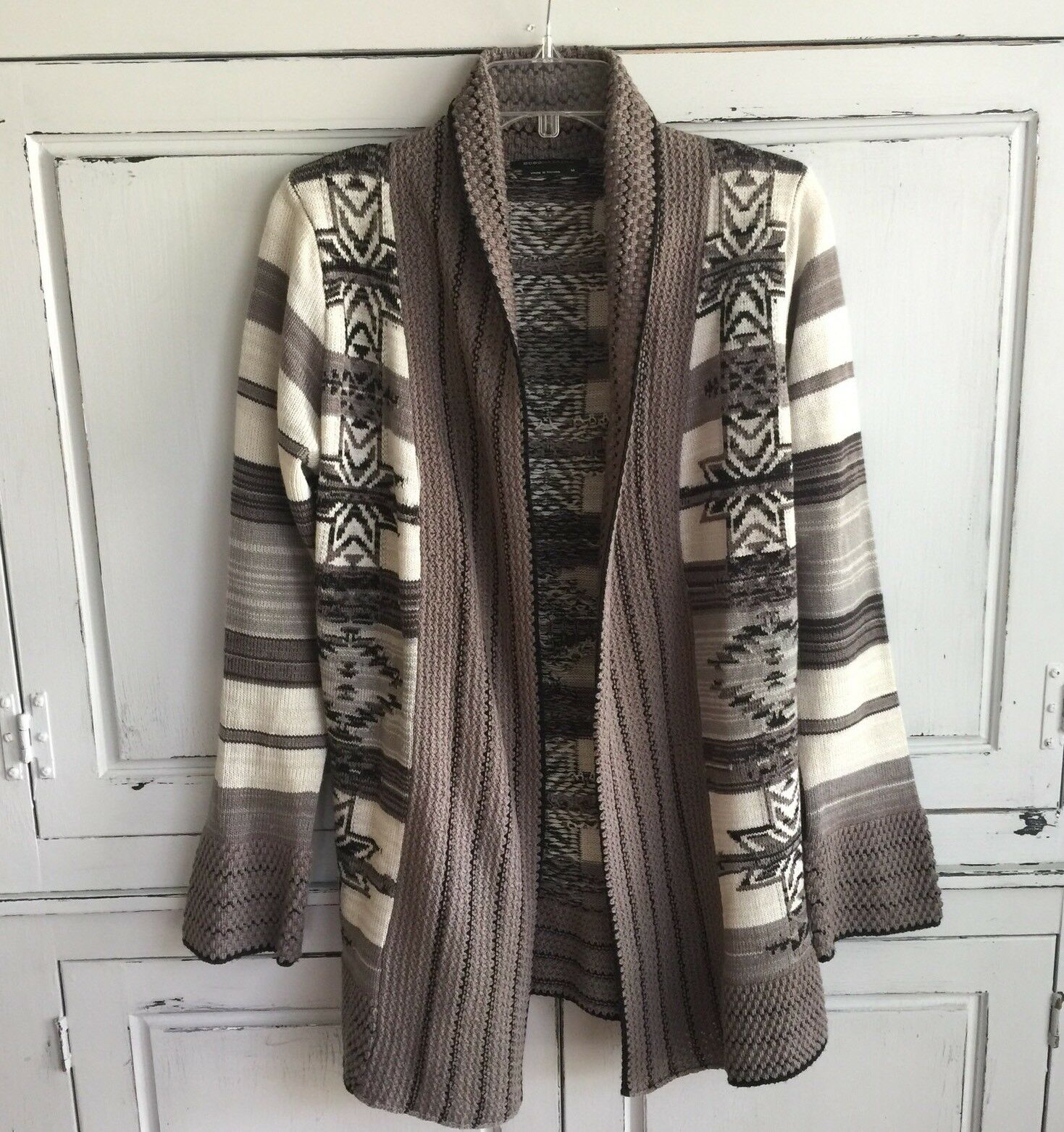 BCBG Max Azria Open Front Long Draped Cardigan Sweater Medium M Southwest Aztec