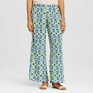 Details About Women S Flora By Rockflowerpaper Palazzo Pants Dress Bottoms Green Blue Large