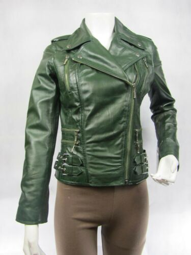 Ladies Green Napa Leather Slim Tight Fitted Zip Short Biker Jacket Bike
