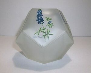 Vintage SATIN GLASS FAIRY LAMP Glimmer Light Candle Holder Texas BLUEBONNETS