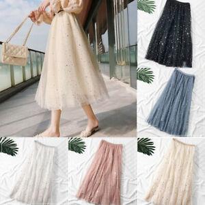 New-3-Layers-Tulle-Tutu-Women-Pleated-Midi-Skirt-High-Waist-Petticoat-Underskirt