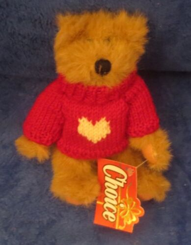 "1994 GANZ MOE JOINTED BEAR WITH RED VALENTINE HEART SWEATER 9"" CH1478"
