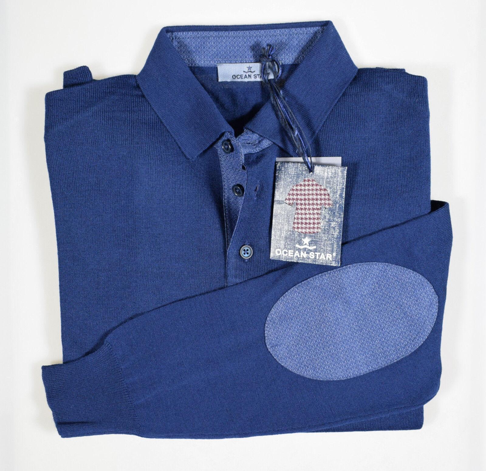Maglione Polo in misto Lana Merino pettinata Ocean Star con Toppe Modern Fit