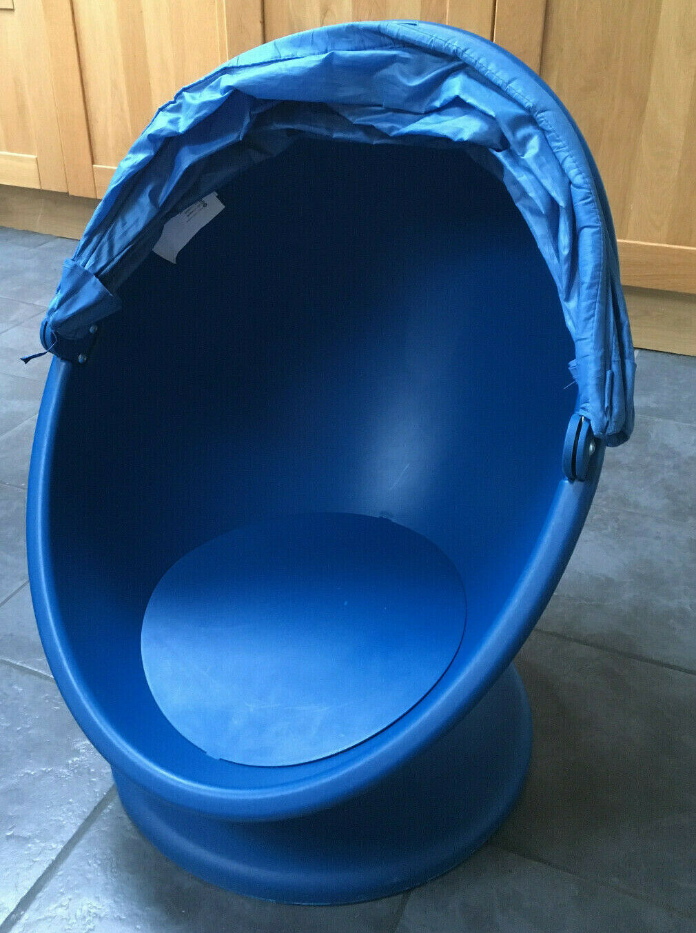 Ikea Lomsk Blue Egg Swivel Chair with