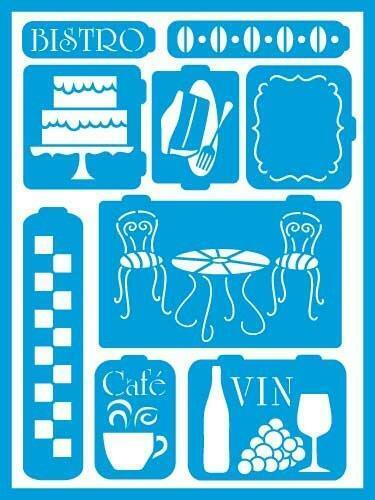 Deco Art AMERICANA GLOSS ENAMELS Re-usable stick on STENCIL Bistro AGS202