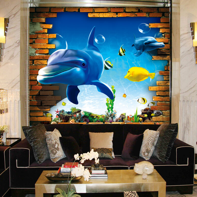3D Dolphin Seaweed 251 Paper Wall Print Wall Decal Wall Deco Indoor Murals