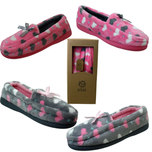 Ladies Moccasin  Soft Velour PINK GREY LOVE HEART  Christmas Slippers