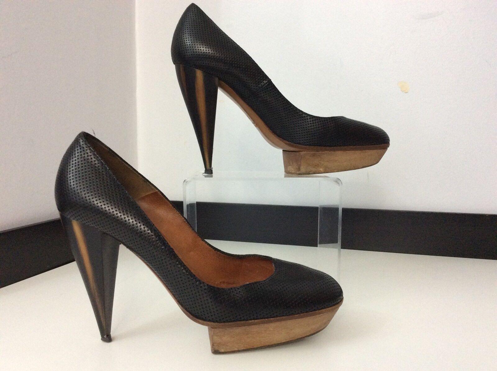 e2a2de73a3e1 Lanvin en cuir Noir Cour Chaussures Chaussures Chaussures en Bois Talons  Hauts Taille 37 GC | En Vente | Mode 7f7693