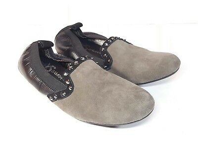 cab58cb8fe2 Yosi Samra YS Ariel Brown Suede Black Leather Studded Ballet Flats Shoes  Size 6