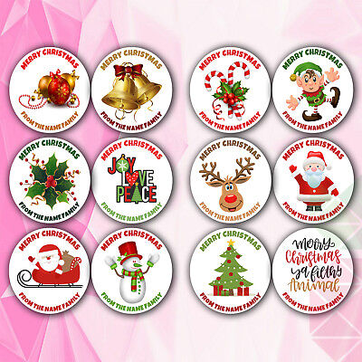 24 Personalised Christmas Stickers REINDEER for Gift Wrapping Presents