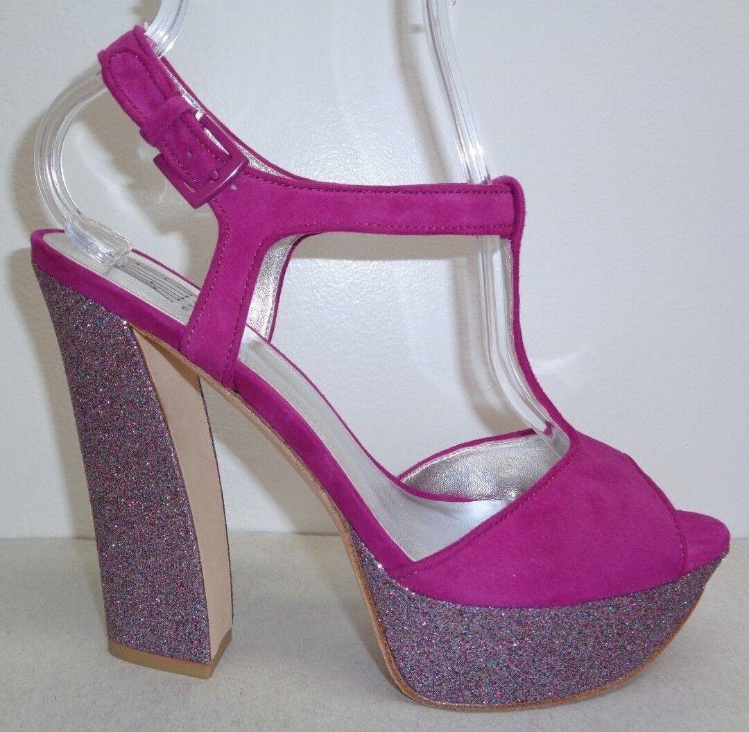 Pelle Moda Size 8 M YVAINE Cerise Kid Suede Platform Sandals New Donna Shoes