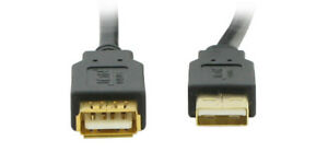 USB-Extension-Cable-10FT-A-A-M-F-Black-With-Gold-Plated-Connector