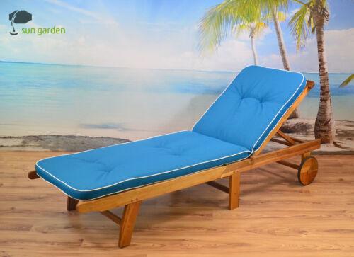 6 x Auflagen für Hochlehner Sessel Gartenstuhl in blau Kissen Polster Sitzkissen