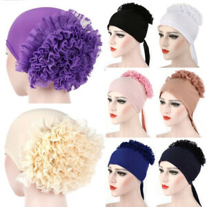 Muslim-Women-Lace-Cancer-Chemo-Hat-Hijab-Hair-Loss-Head-Scarf-Turban-Cap-Wrap-UK