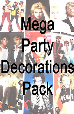 MEGA 80s Party Decorations Pack - Scene Setter, Buntings, Balloons, Posters etc