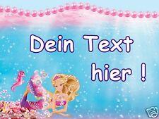Eßbar Tortenaufleger Barbie Meerjungfrau NEU Dekoration mit Text dvd Namen backe