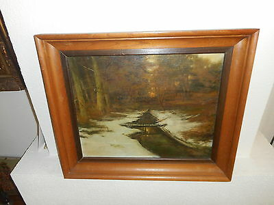 }. Very Old Oil Painting,{ Forest Landscape With A River Is Signed And Antique