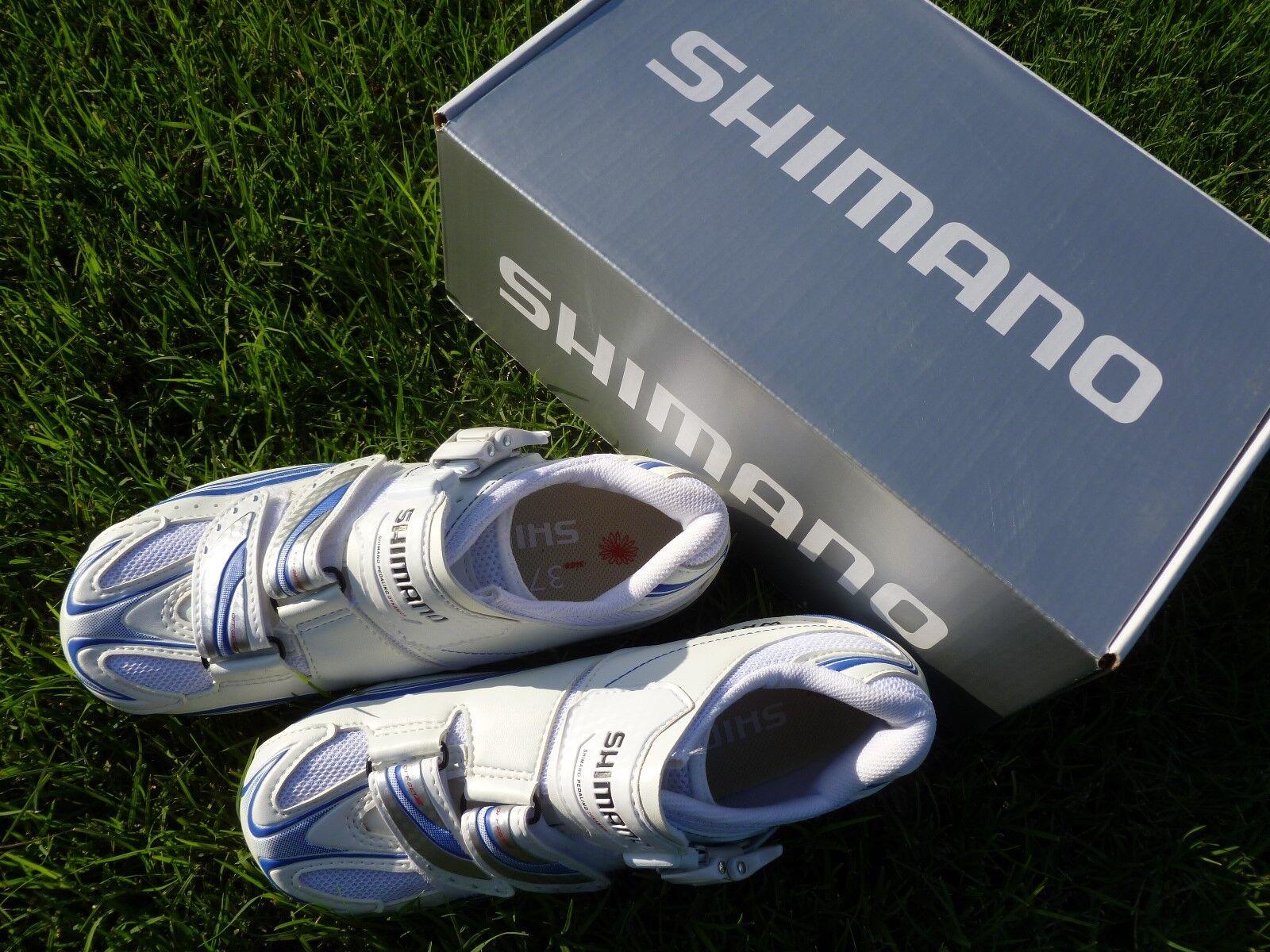 NEW Shimano SH-WR61 SPDSL Women Road Bike Cycling shoes US 5.5 White bluee