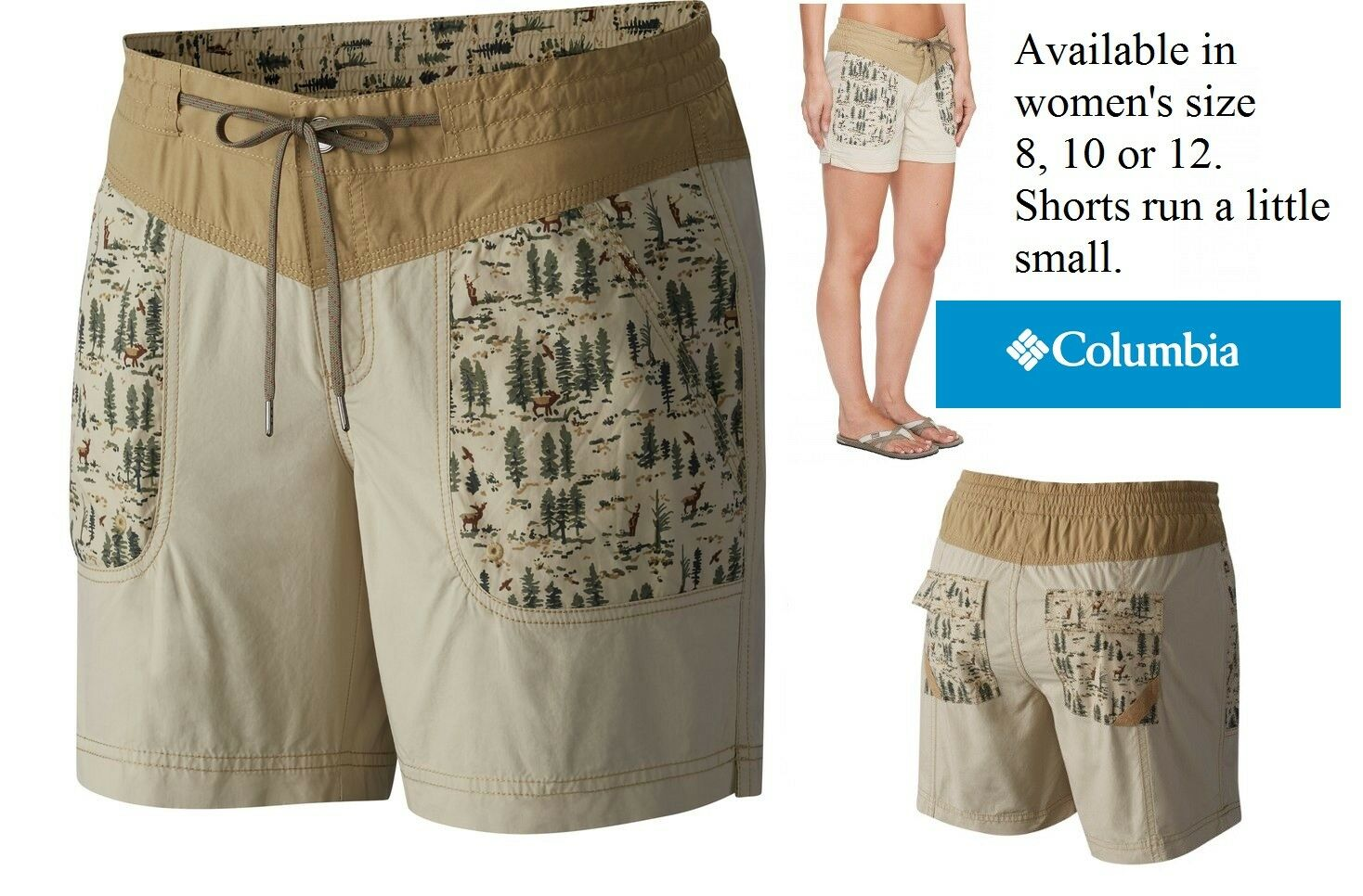 Columbia Women's DOWN THE PATH Shorts 100% cotton camping hunting fish theme NWT