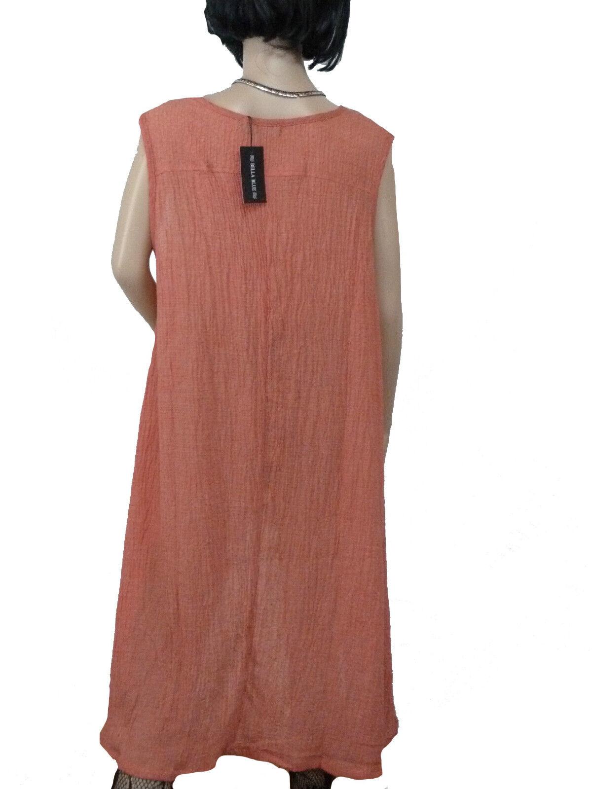 Bella Blau  Kleid Sommerkleid Tunika leicht luftig L Orange Grau Braun Gr. L luftig XL d8624b