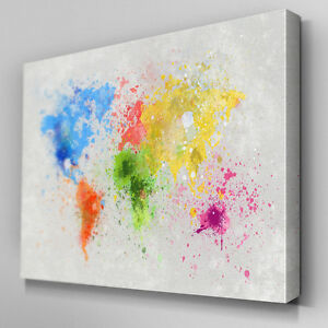 Details about AB347 World Map Paint Splatter Canvas Wall Art Ready to Hang  Picture Print