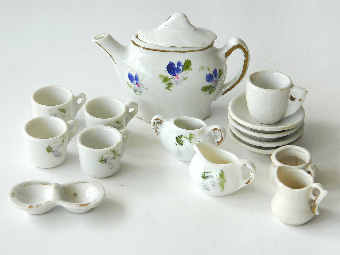 VTG MINIATURE PORCELAIN TEA TABLEWARE SET Deco Dollhouse Miniature
