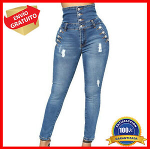 Pantalones Jeans De Tiro Alto Para Mujer Rasgados Cintura Alta Levanta Cola Ebay
