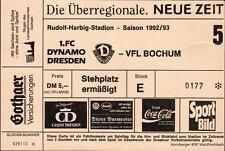 Ticket BL 92/93 1. FC Dynamo Dresden - VfL Bochum