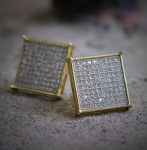 7e339247ff66d Details about Men Gold Large Square Flat Screen Hip Hop Stud Screw Back  Earrings Size 16mm