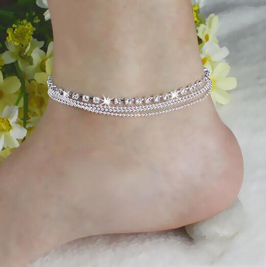 Women Bead Chain Silver Ankle Bracelet Anklet Barefoot Sandal Beach Foot Gift Ebay
