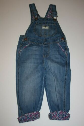 New OshKosh Girls Denim Blue Jean Floral Cuff Overalls 2T 3T 4T 5T  Vestbak