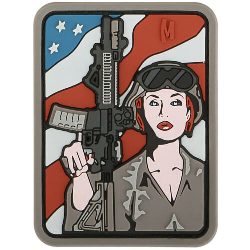 MAXPEDITION SOLDIER GIRL 3D PVC RUBBER BADGE MILITARY MORALE PATCH ARID
