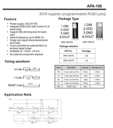 50x APA106 F5 wie WS2812B P9823-5mm RGB LED mit integriertem Controller