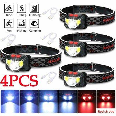 2X 90000LM Motion Sensor Headlight LED USB Rechargeable Headlamp Head Torch Lamp