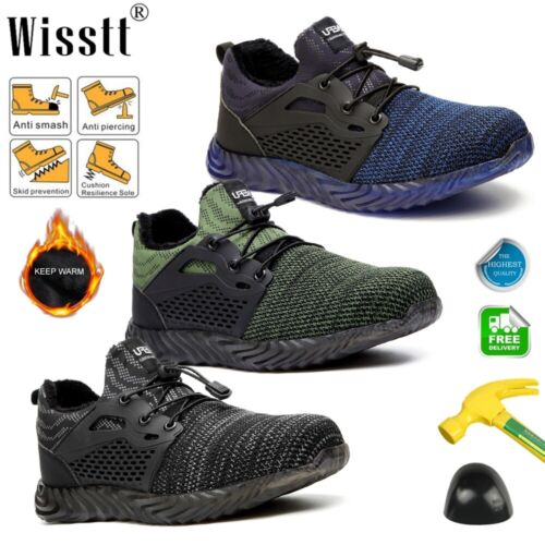 Men/'s Lightweight Steel Toe Safety Work Shoes Indestructible Sports Run Sneakers