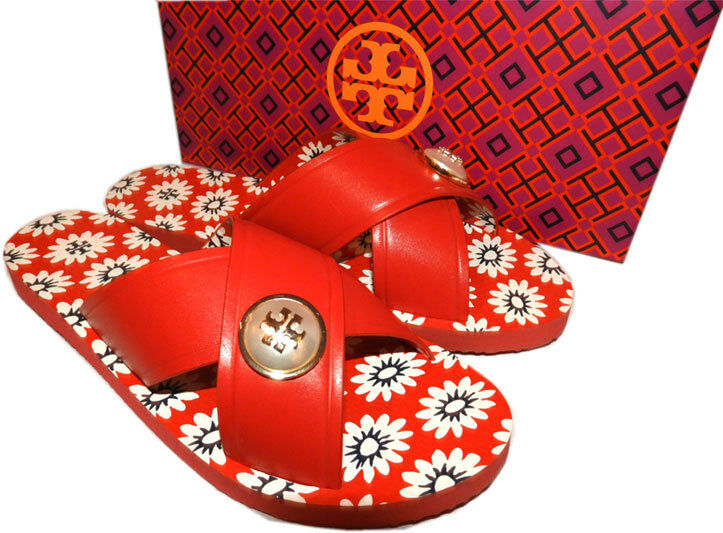 Tory Burch Logo Pearl Flip Flop Sandals MELODY Flat Slides Slides Slides Red Daisy Mules 7 04bf48
