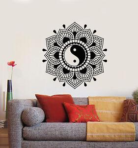 Vinyl Wall Decal Lotus Flower Yin Yang Symbol Buddhism Yoga Stickers 1817ig