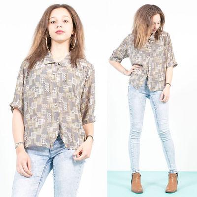 Adattabile Da Donna Vintage 70's Style Sheer Camicia Blusa Grigio Sqaure Retrò Pattern Loose 14-