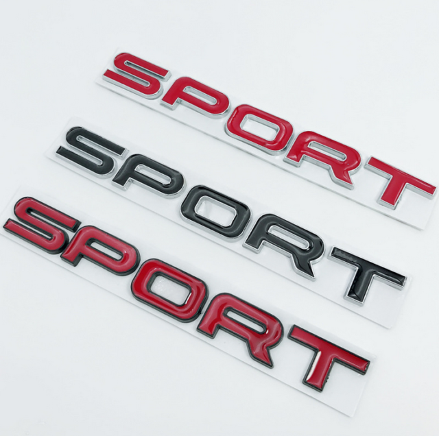 """New Chrome Red /"""" SPORT /"""" Letters Trunk Badge Emblem Badge Sticker for LAND ROVER"""