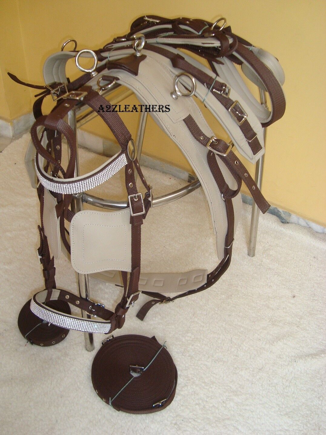 Exclusive Beige Brown Synthetic Nylon Driving harnes for Single horse in 4 size
